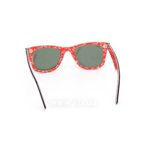 Очки Ray-Ban Original Wayfarer RB2140-1016 Black/Red Texture/Natural Green (G-15XLT), вид сзади