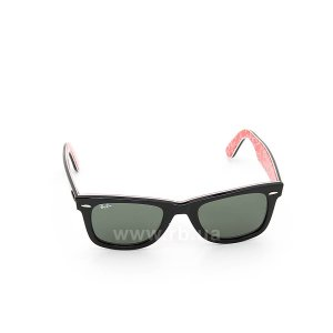Очки Ray-Ban Original Wayfarer RB2140-1016 Black/Red Texture/Natural Green (G-15XLT), вид спереди