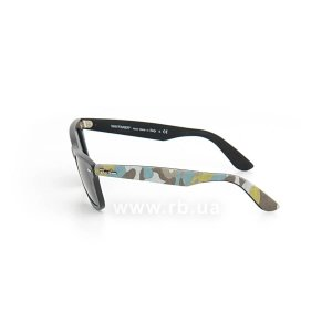 Очки Ray-Ban Original Wayfarer Urban Camouflage RB2140-6065 Black Rubber / Blue/Yellow Camouflage | Natural Green (G-15XLT), вид слева