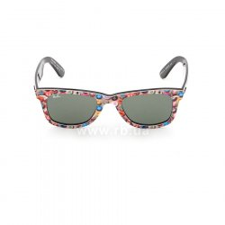Очки Ray-Ban Rare Prints Wayfarer RB2140-1049 Smile Prints On Black | Natural Green (G-15 XLT) 48