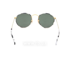 Очки Ray-Ban Round Metal Camouflage RB3447JM-171 Arista/ White/Grey Camouflage |  Natural Green, вид сзади