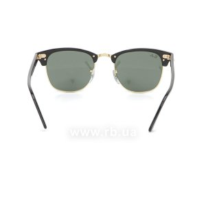 Очки Ray-Ban Clubmaster RB3016-W0365 Ebony/Arista/Natural Green (G-15XLT), вид сзади