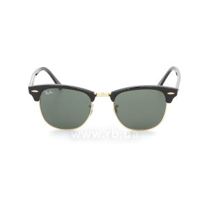 Очки Ray-Ban Clubmaster RB3016-W0365 Ebony/Arista/Natural Green (G-15XLT), вид спереди