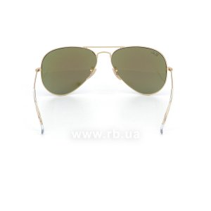 Очки Ray-Ban Aviator Flash Lenses RB3025-112-17 Matte Gold | Green Mirror Blue, вид сзади