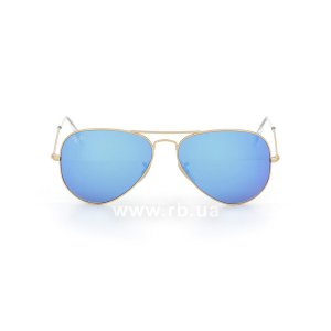 Очки Ray-Ban Aviator Flash Lenses RB3025-112-17 Matte Gold | Green Mirror Blue, вид спереди