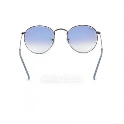 Очки Ray-Ban Round Metal RB3447-006-3F Matte Black/Gradient Light Blue, вид сзади