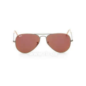 Очки Ray-Ban Aviator Flash Lenses RB3025-167-2K Matte Silver | Brown Mirror Dark Pink , вид спереди