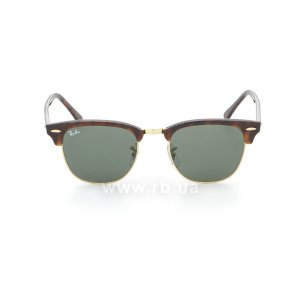 Очки Ray-Ban Clubmaster RB3016-W0366 Mock Tortoise/Arista/Natural Green (G-15XLT), вид спереди