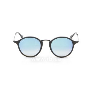 Очки Ray-Ban Round Icons Flash Lenses RB2447-901-4O Black | Blue Gradient Mirror, вид спереди