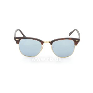Очки Ray-Ban Clubmaster Flash Lenses RB3016-1145-30 Matte Havana | Crystal Silver Mirror, вид спереди