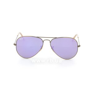 Очки Ray-Ban Aviator Flash Lenses RB3025-167-1R Matte Bronze | Violet Mirror Polarized, вид спереди