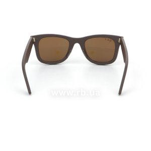 Очки Ray-Ban Original Wayfarer Leather RB2140QM-1153-N6 Brown Leather | Neophan Polar Brown P3 Plus, вид сзади