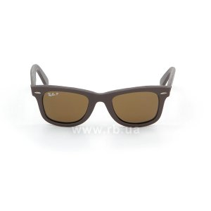 Очки Ray-Ban Original Wayfarer Leather RB2140QM-1153-N6 Brown Leather | Neophan Polar Brown P3 Plus, вид спереди