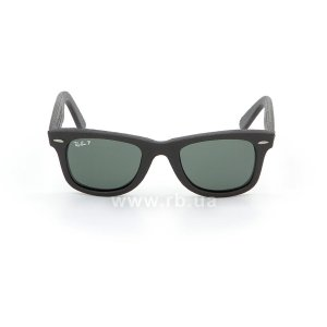 Очки Ray-Ban Original Wayfarer Leather RB2140QM-1152-N5 Insert Black Leather | Neophan Polar Green P3 Plus, вид спереди