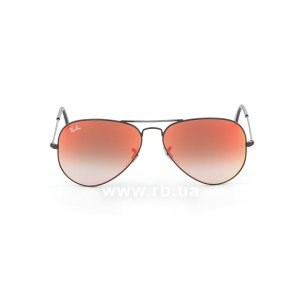 Очки Ray-Ban Aviator Flash Lenses RB3025-002-4W Black | Orange Gradient Mirror, вид спереди