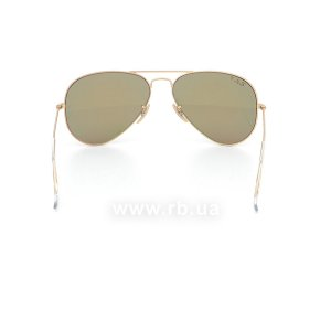 Очки Ray-Ban Aviator Flash Lenses RB3025-112-1Q Matte Gold | Violet/Yellow Mirror Polarized, вид сзади
