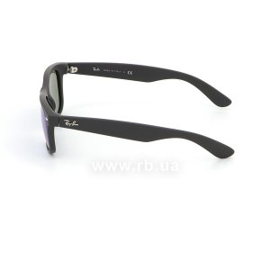 Очки Ray-Ban New Wayfarer Flash Lenses RB2132-622-17 Black Rubber/ Blue Mirror, вид слева