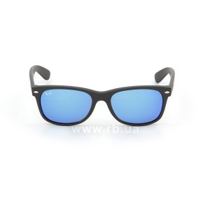 Очки Ray-Ban New Wayfarer Flash Lenses RB2132-622-17 Black Rubber/ Blue Mirror, вид спереди