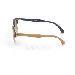 Очки Ray-Ban Clubmaster Wood RB3016M-1180-7Q Light Brown Wood/Arista/Brown |  Faded Blue, вид слева