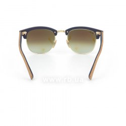 Очки Ray-Ban Clubmaster Wood RB3016M-1180-7Q Light Brown Wood/Arista/Brown |  Faded Blue, вид сзади