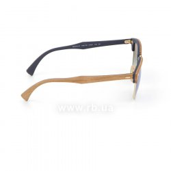 Очки Ray-Ban Clubmaster Wood RB3016M-1180-7Q Light Brown Wood/Arista/Brown |  Faded Blue, вид справа