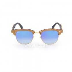 Очки Ray-Ban Clubmaster Wood RB3016M-1180-7Q Light Brown Wood/Arista/Brown |  Faded Blue, вид спереди