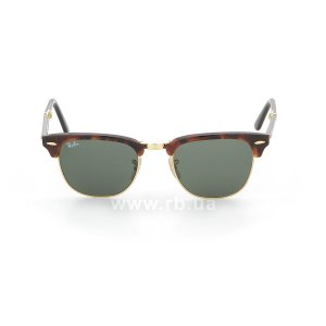 Очки Ray-Ban Folding Clubmaster RB2176-990 Dark Havana | Natural Green (G-15XLT), вид спереди