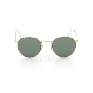 Очки Ray-Ban Round Metal RB3447-112-58 Arista | Natural Green Polarized, вид спереди