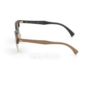 Очки Ray-Ban Clubmaster Wood RB3016M-1181-58 Brown Wood/Arista/Black| Natural Green Polarized, вид слева
