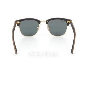 Очки Ray-Ban Clubmaster Wood RB3016M-1181-58 Brown Wood/Arista/Black| Natural Green Polarized, вид сзади