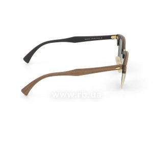 Очки Ray-Ban Clubmaster Wood RB3016M-1181-58 Brown Wood/Arista/Black| Natural Green Polarized, вид справа
