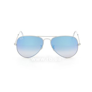 Очки Ray-Ban Aviator Flash Lenses RB3025-019-8B Matte Silver | Violet Mirror Gradient, вид спереди