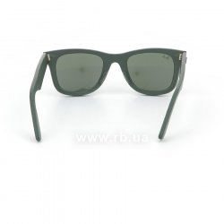Очки Ray-Ban Original Wayfarer Leather RB2140QM-1170 Grey / Green Leather | Natural Green (G-15), вид сзади