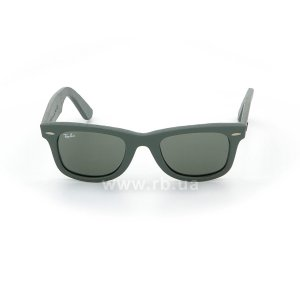 Очки Ray-Ban Original Wayfarer Leather RB2140QM-1170 Grey / Green Leather | Natural Green (G-15), вид спереди