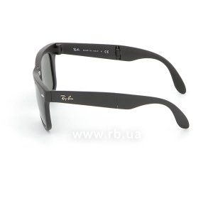 Очки Ray-Ban Folding Wayfarer RB4105-601S Matt Black | Natural Green (G-15XLT), вид слева