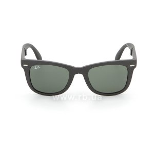 Очки Ray-Ban Folding Wayfarer RB4105-601S Matt Black | Natural Green (G-15XLT), вид спереди