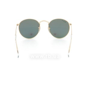 Очки Ray-Ban Round Metal Flash Lenses RB3447-112-P9 Matte Gold | Grey Mirror Green Polarized, вид сзади