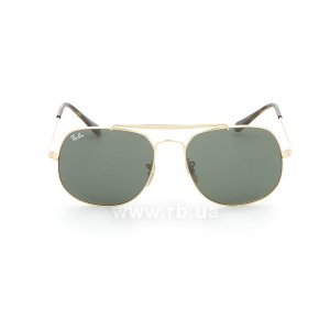 Очки Ray-Ban The General RB3561-001 Arista/Natural Green (G-15XLT), вид спереди