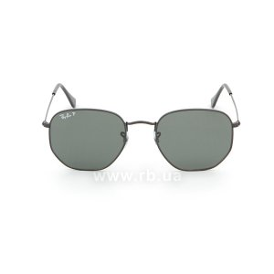 Очки Ray-Ban Hexagonal Flat Lenses RB3548N-002-58 Black | Natural Green Polarized, вид спереди