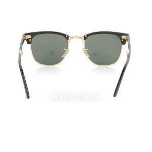 Очки Ray-Ban Folding Clubmaster RB2176-901 Black | Natural Green (G-15XLT), вид сзади