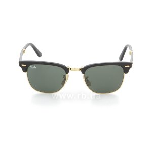 Очки Ray-Ban Folding Clubmaster RB2176-901 Black | Natural Green (G-15XLT), вид спереди