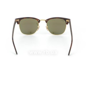Очки Ray-Ban Clubmaster Flash Lenses RB3016-1145-17 Matte Havana | Green Mirror Blue, вид сзади