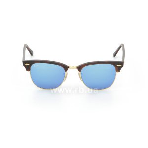 Очки Ray-Ban Clubmaster Flash Lenses RB3016-1145-17 Matte Havana | Green Mirror Blue, вид спереди