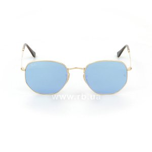 Очки Ray-Ban Hexagonal Flat Lenses RB3548N-001-9O Arista / Blue Mirror, вид спереди