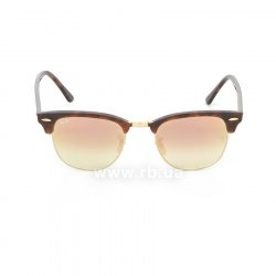 Очки Ray-Ban Clubmaster Flash Lenses RB3016-990-7O Arista/Red tortoise | Mirror Faded Brown, вид спереди