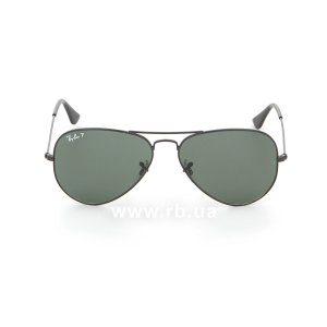 Очки Ray-Ban Aviator Large Metal RB3025-002-58 Black/Natural Green Polarized, вид спереди