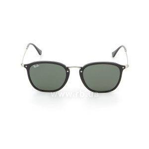 Очки Ray-Ban Highstreet Flat Lenses RB2448N-901 Black/Matt Silver| Natural Green, вид спереди
