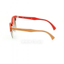 Очки Ray-Ban Clubmaster Wood RB3016M-1219-7O Light Brown Wood / Silver / Red |  Mirror Faded Brown, вид слева