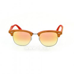 Очки Ray-Ban Clubmaster Wood RB3016M-1219-7O Light Brown Wood / Silver / Red |  Mirror Faded Brown, вид спереди