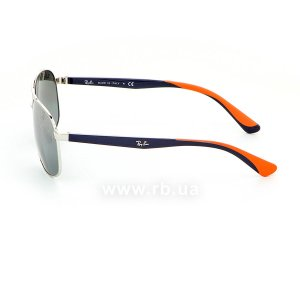 Очки Ray-Ban Active Lifestyle RB3593-9101-88 Silver / Blue / Orange | Gradient Grey Mirror, вид слева